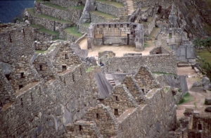 Machu Picchu: houses in the Western Urban Sector, Sacred Square. Source: http://commons.wikimedia.org/wiki/File:Machu-picchu-c07.jpg Issued under  the Creative Commons Attribution-Share Alike 2.5 Spain license.