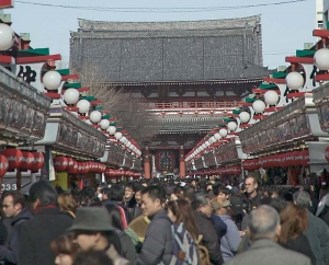 Nakamise Street Sensoji Asakusa Taito-ku Tokyo JapanPilgrims and tourists have flocked to the Sensoji (a Buddhist temple) in the Asakusa neighborhood of Tokyo for centuries, shopping for souvenirs at shops on this crowded street.  Source: http://commons.wikimedia.org/wiki/File:Nakamise1411.jpg