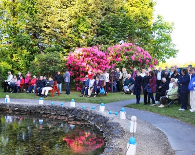 People gather for the annual May Mass
