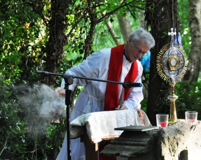 The Blessed Sacrament, or Eucharist, is incensed as part of the service.