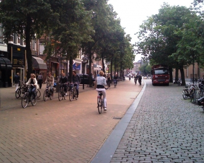 A bike lane to one of the main squares Vismarkt. Although these lanes are occasionally used by cars, it is dominated by the flow of thousands of bikes daily.