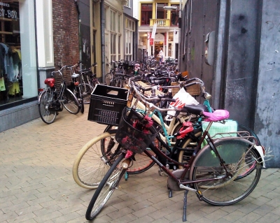 Bikes packed into a laneway off Grote Markt. Bikes are parked every where here, there are marked out areas on all footpaths and public buildings (such as the University and Train Station) have the facilities to park hundreds of bikes.