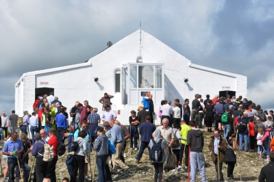St Patrick's Chapel on the summit, just after one of the masses (one every half hour between 8am & 2pm). Pilgrims on the left are queueing for Confessions and those on the right for Communion.