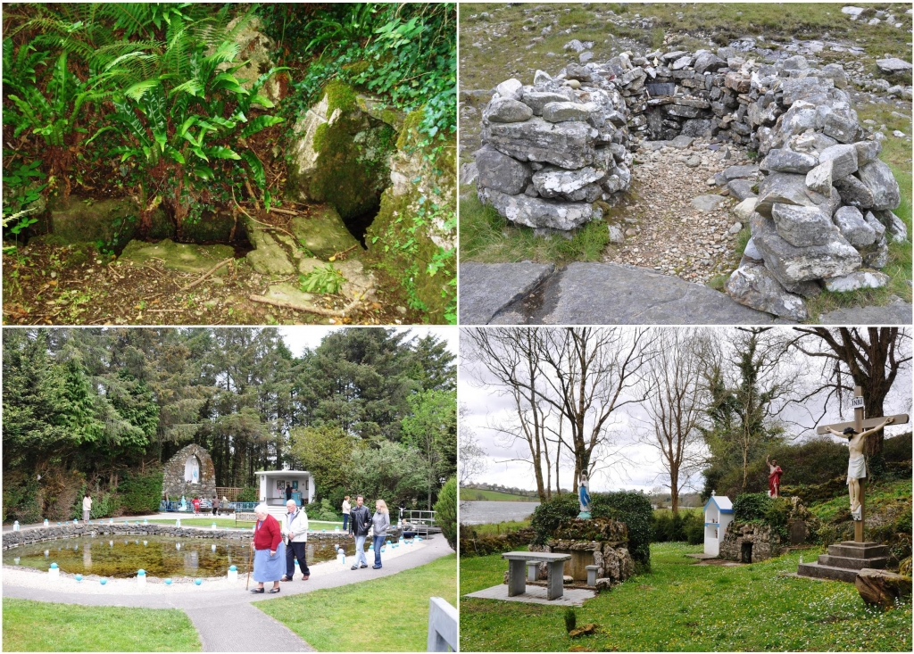 A selection of holy wells (clockwise, from top left): Sunday's Well, Raffeen, Cork, a simple well in the hillside that is frequented by a small number of locals; St Patrick's Well Mam Éan, Connemara, a well on a mountain pass surrounded by a walled enclosure with a collection of votive offerings; St John's Well, Newhall, Clare, an enclosed well with an altar, several statues and a shrine, the site is visited on June 23rd, St John's Eve; 'Tubrid', Millstreet, Cork, an elaborate well-site with a Marion Grotto, an sheltered altar, railings and a landscaped environment, an annual mass is celebrated on a Friday in May.