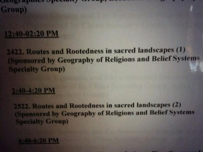 AAG Session: Routes & Rootedness in Sacred Landscapes
