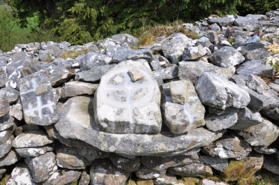 Crosses are imprinted into four rocks at the Eastern prayer Station in 'the City' as part of the rounds.
