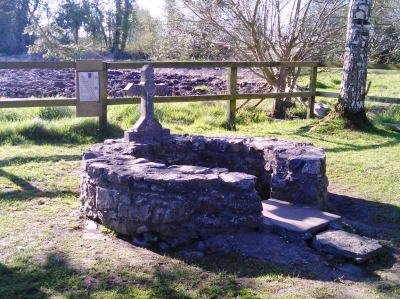 St Brigid's Well, enclosed by a low circular stone wall.