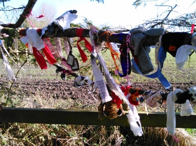 A rag tree by the well, with a selection of fabrics, tokens, and other items hanging off a branch.